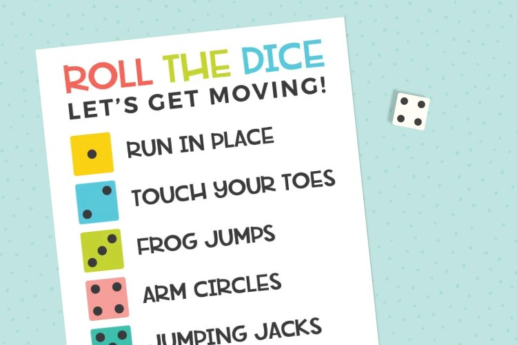 Roll the Dice Exercise Game on a blue background with a die
