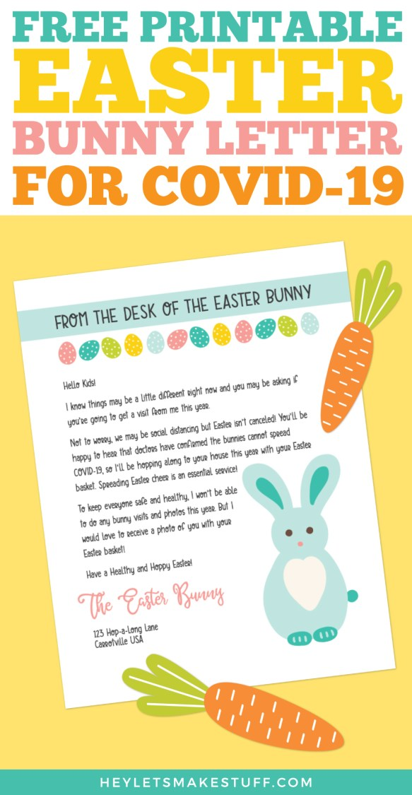 Printable Easter Bunny Letter During COVID-19 pin image