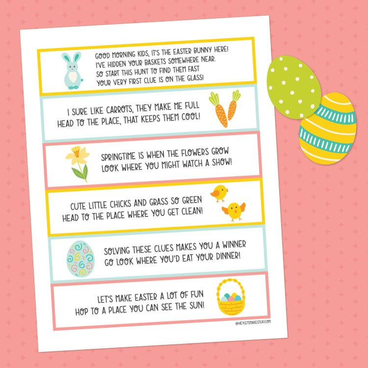 Easter basket scavenger hunt printable on pink background with cut-out easter eggs.