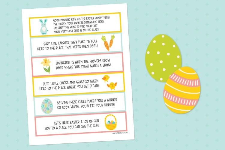 Easter basket scavenger hunt printable on blue background with cut-out easter eggs.