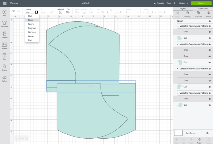 Select all of the lines and change them from cut lines to draw lines.