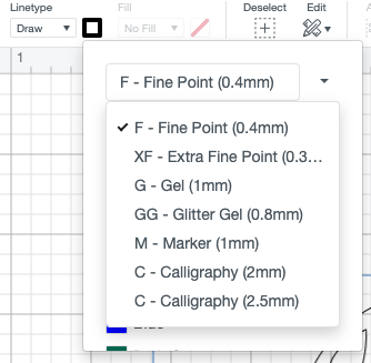 Dropdown of pen color selection tool