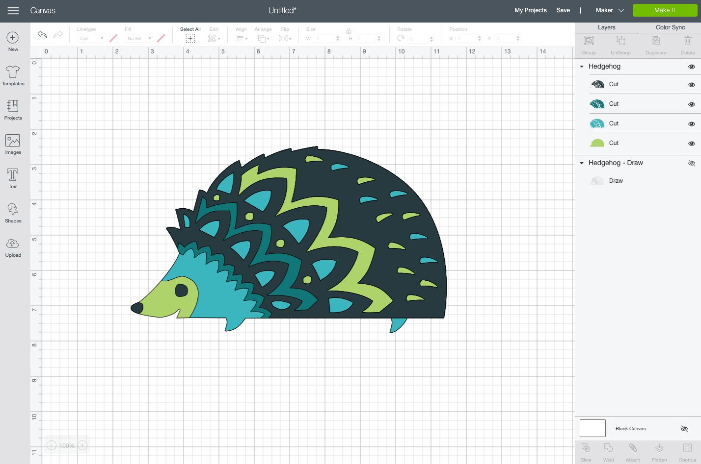 Cricut Design Space: Cut file for the same hedgehog