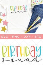 Birthday Squad SVG pin image