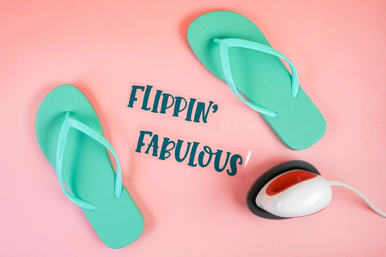 Flip flops with HTV cut and weeded