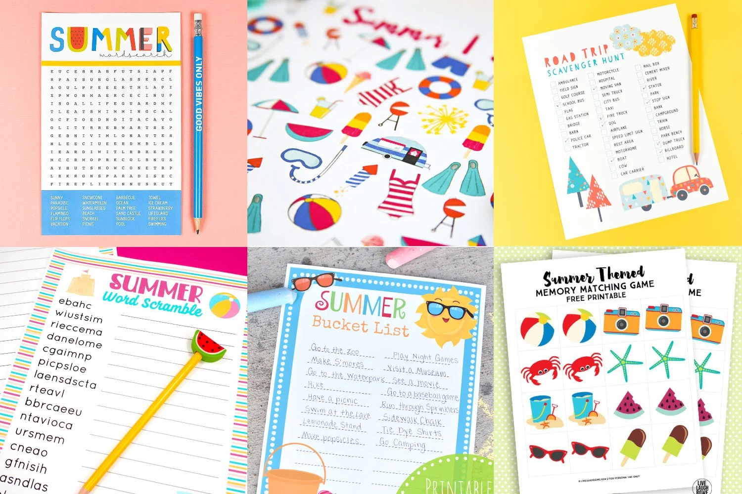 Collage of printable summer games