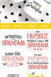 grandparents SVG files and mockup on mugs