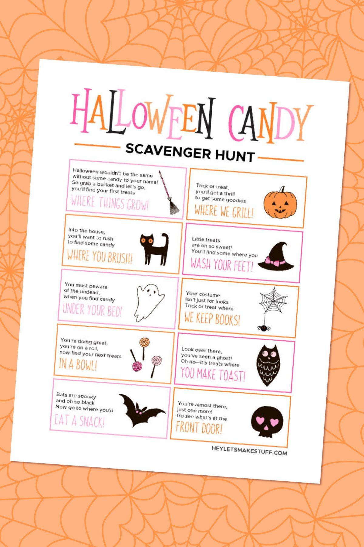 Halloween Candy Scavenger Hunt on Orange Background