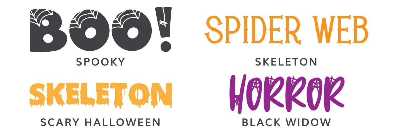 Fourth four Halloween fonts: Spooky, Skeleton, Scary Halloween, Black Widow