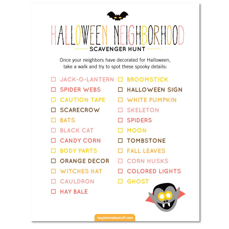 Halloween Neighborhood Scavenger Hunt