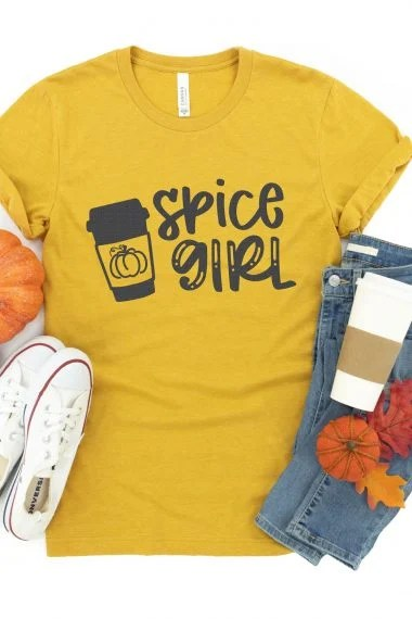 pumpkin spice girl SVG file on shirt