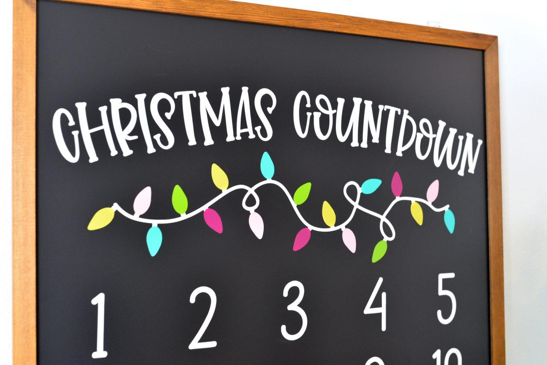 Closeup of Christmas Countdown Calendar.