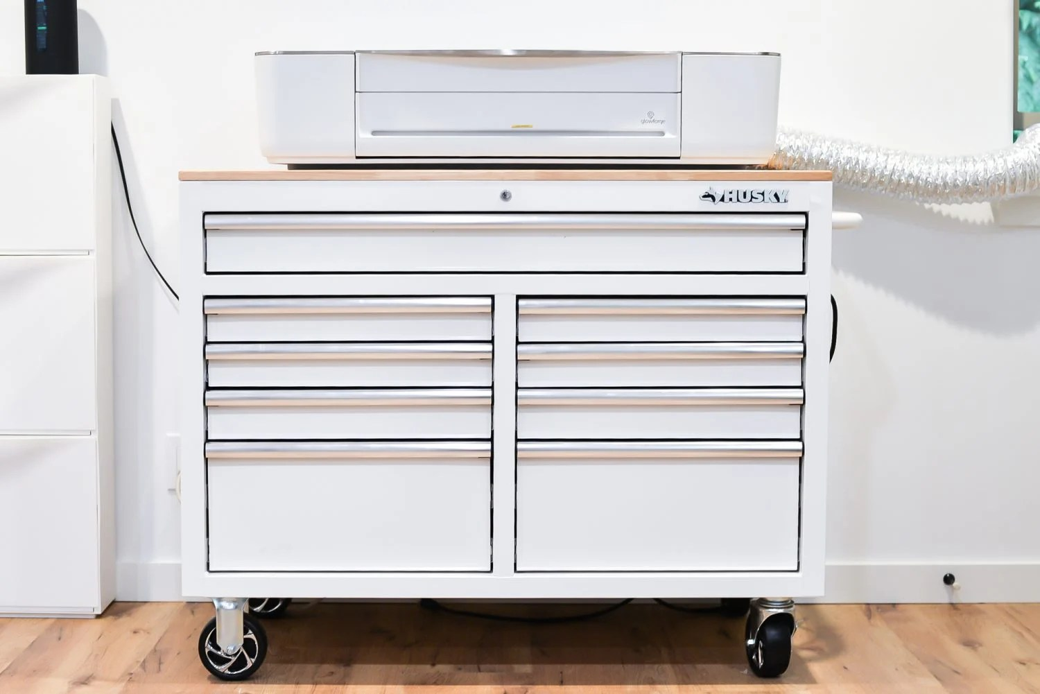 Glowforge sitting on top of Husky Tool Chest.