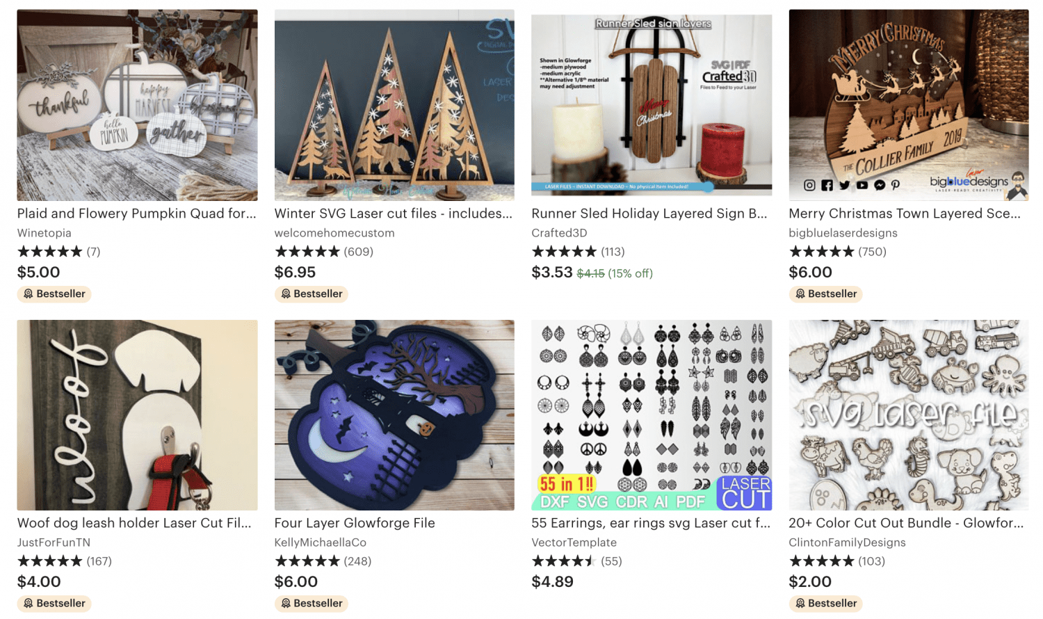Screenshot of Etsy SVGs for people to make.