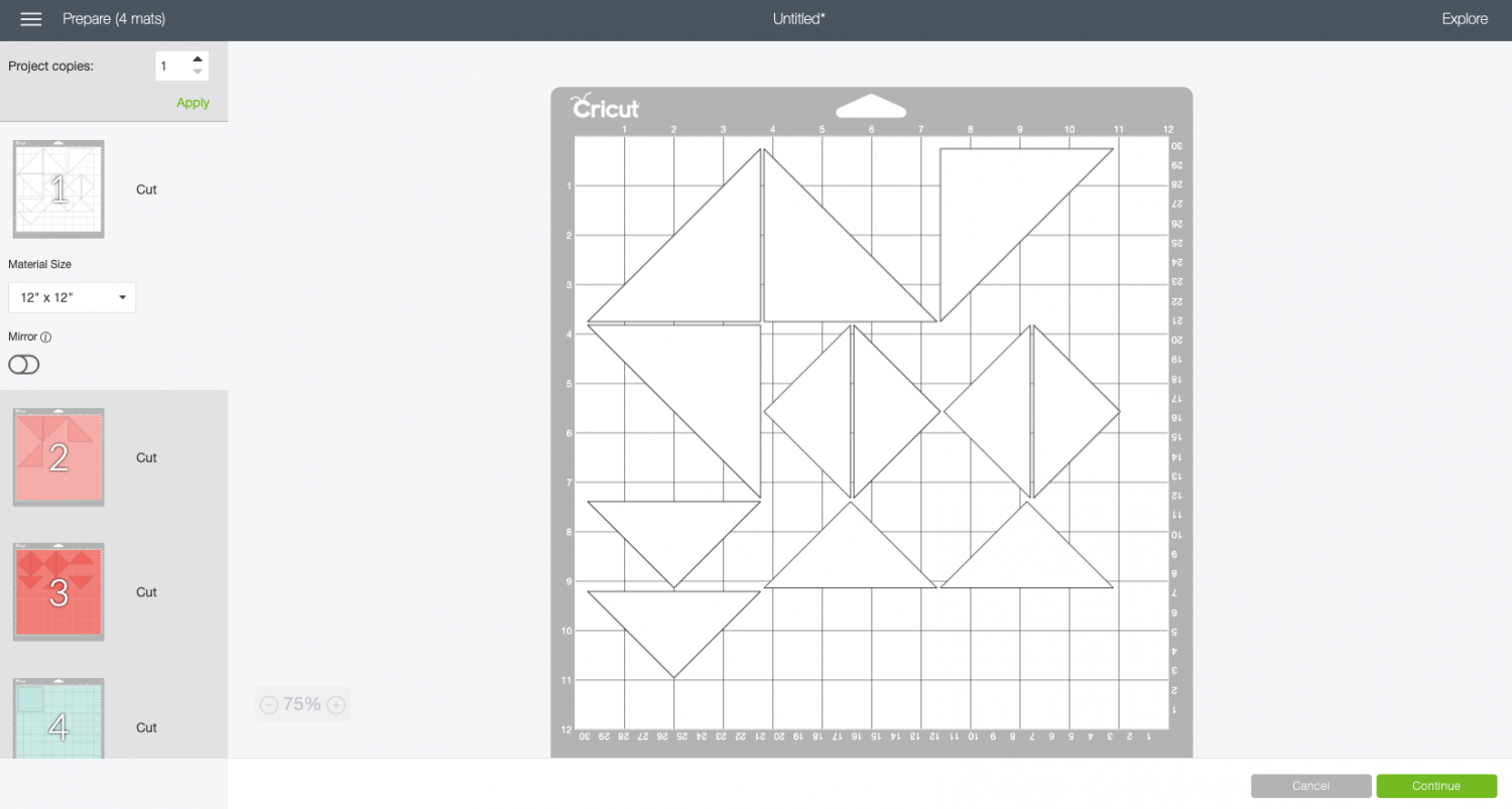 Cricut Design Space: all of the different pieces separated out onto four mats.