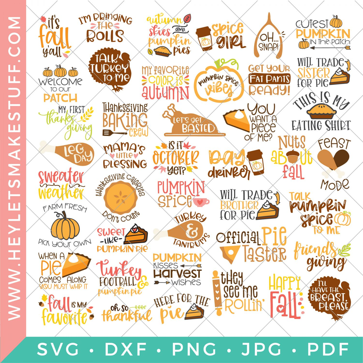 All the files in the big fall and thanksgiving SVG bundle