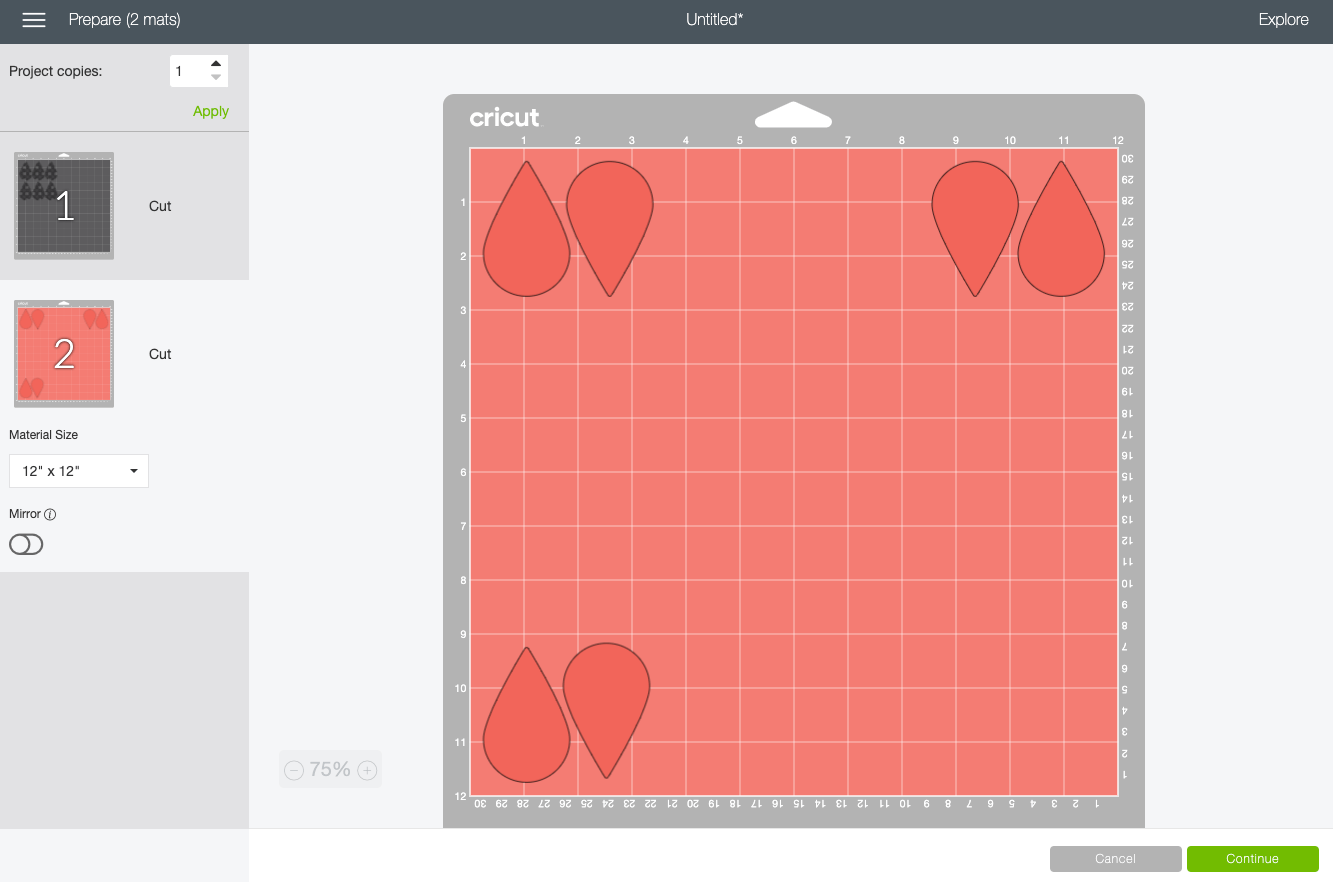 Cricut Design Space: Move the earring pieces to the corners of the mat