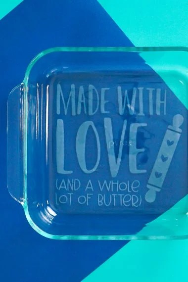 Finished etched dish on blue background
