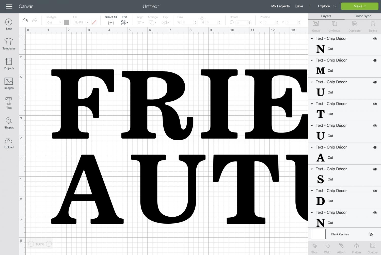 Cricut Design Space: ungroup the letters