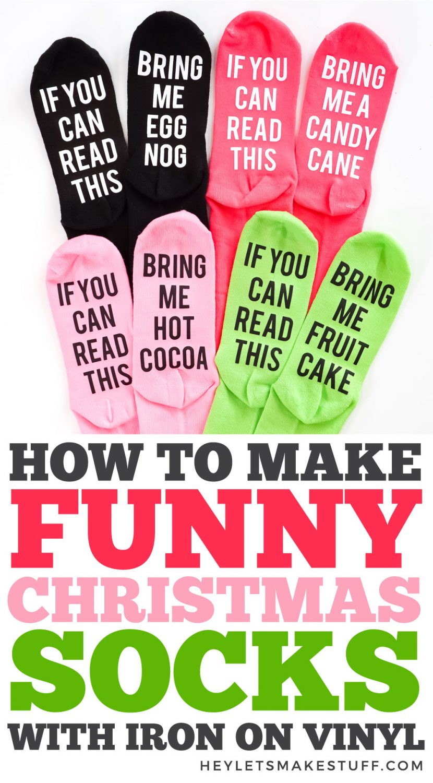 How to Make Funny Christmas Socks with Iron On Vinyl pin image
