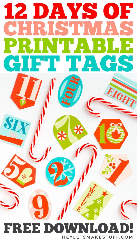12 Days of Christmas Printable Gift Tags pin image
