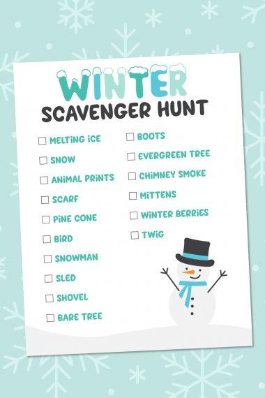 Winter Scavenger Hunt on snowy background