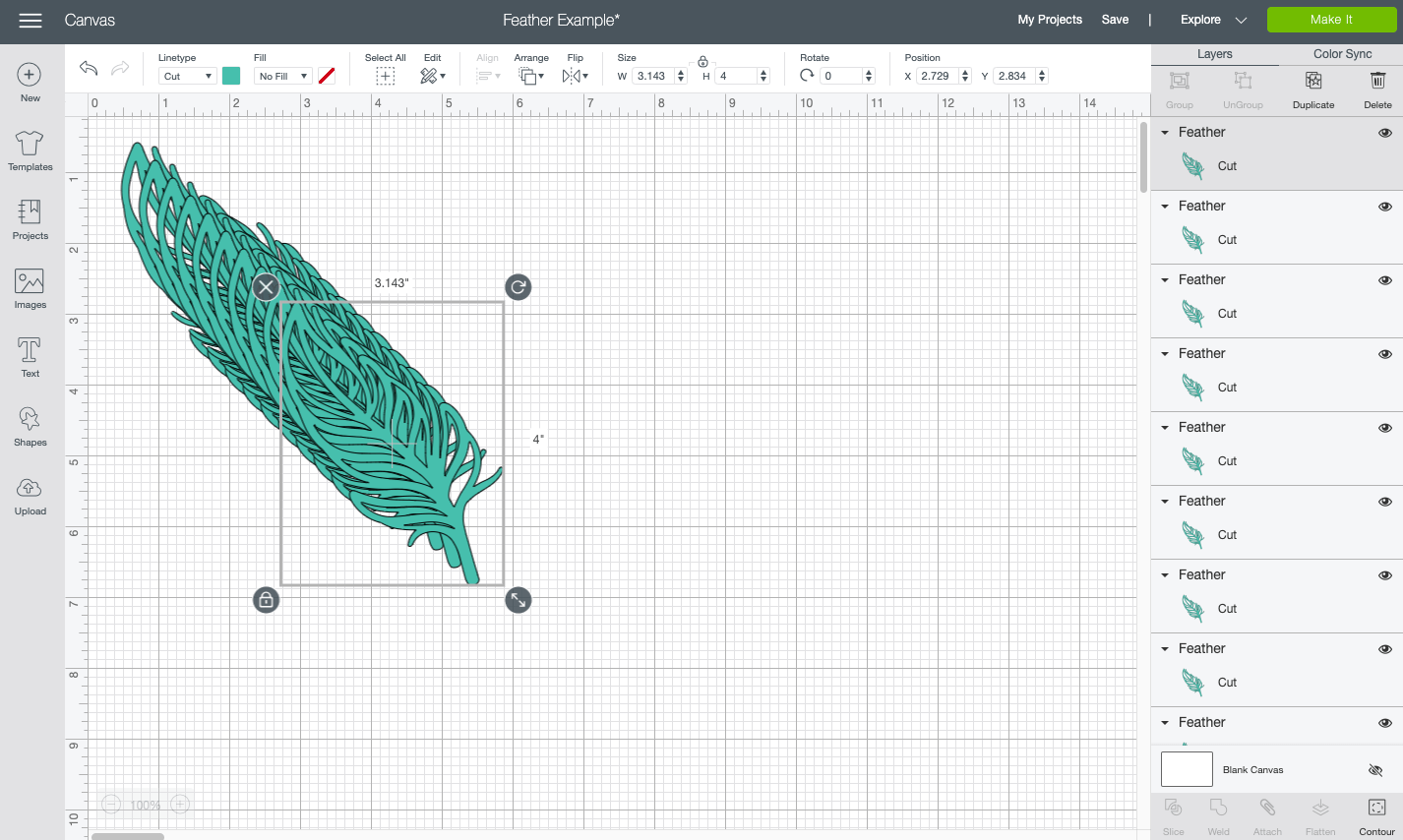Cricut Design Space: feather duplicated 10 times