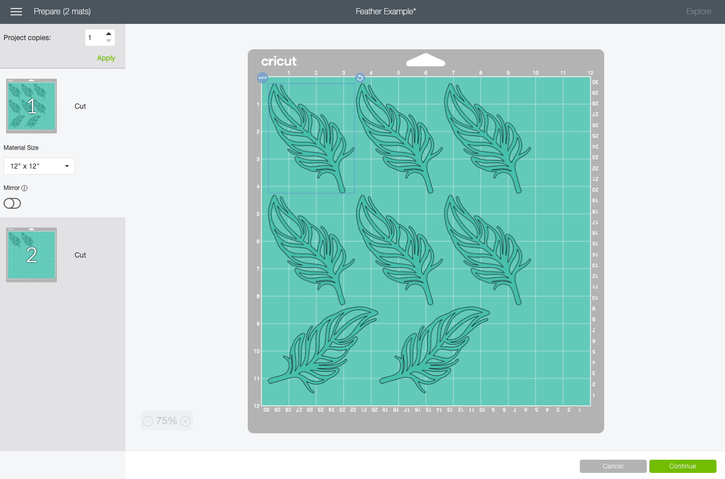 Cricut Design Space: mat showing feathers spaced how DS spaces them.