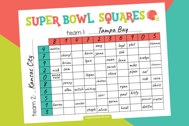 Filled in version of Super Bowl Squares