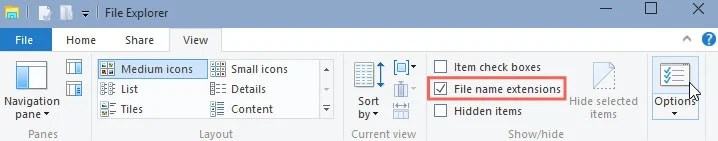 Screenshot: how to turn on file extensions