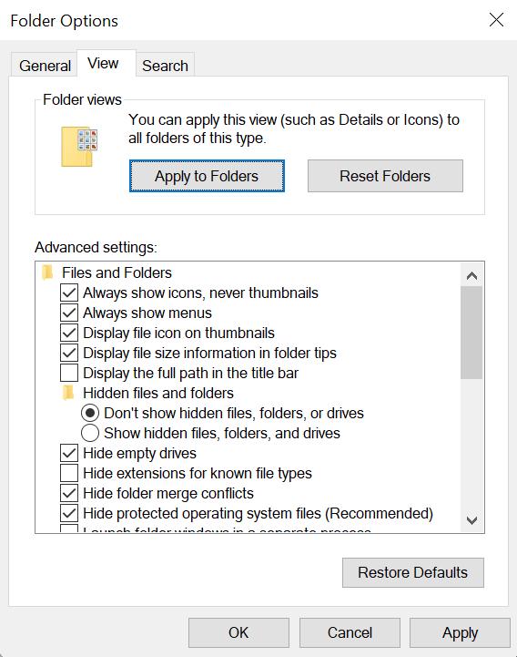 Windows Explorer File Options