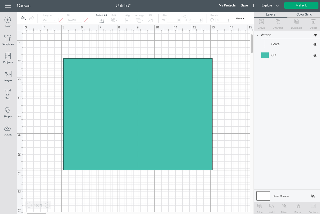Cricut Design Space: card imported correctly with score line