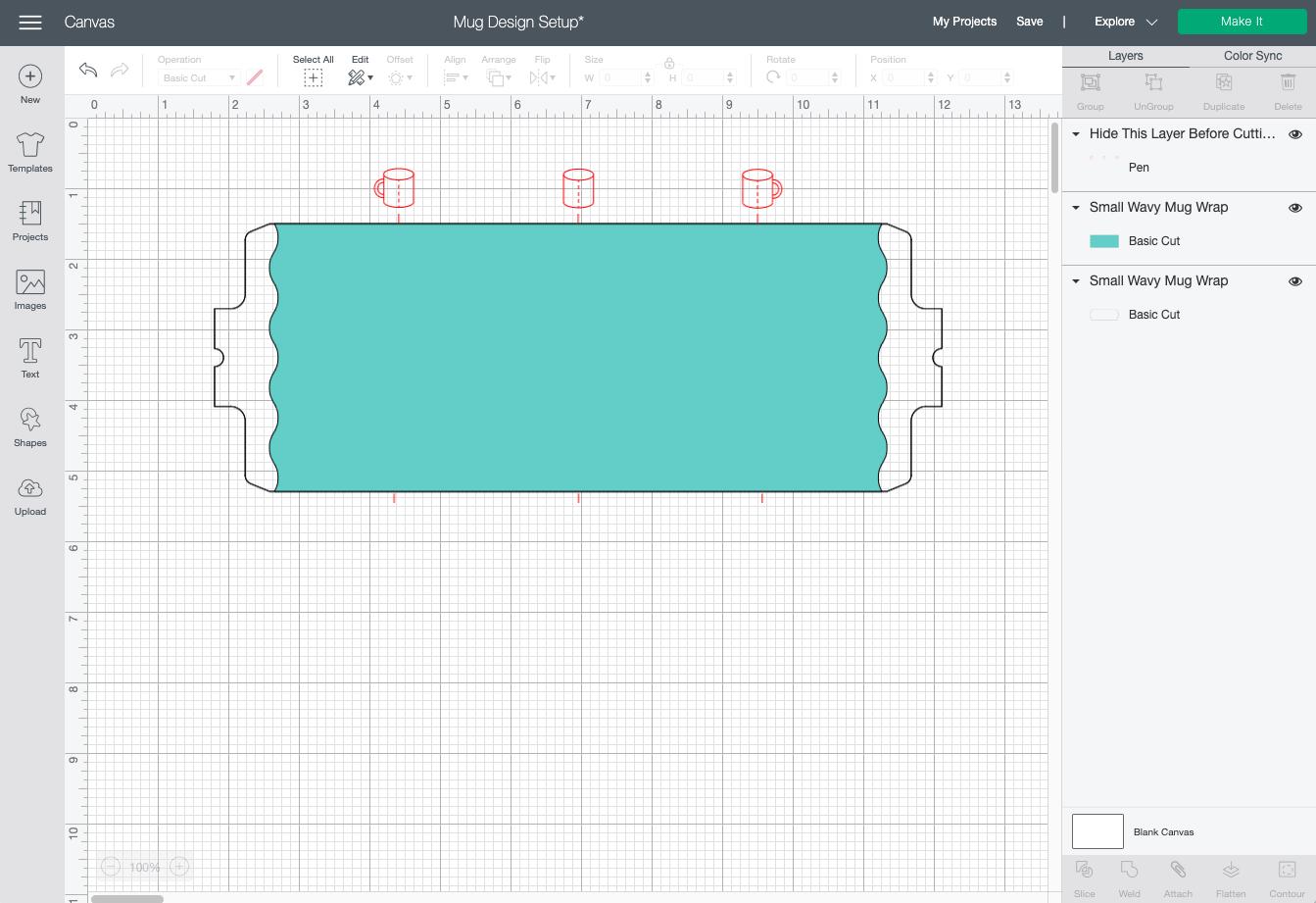 Cricut Design Space: Mug wrap template on Canvas
