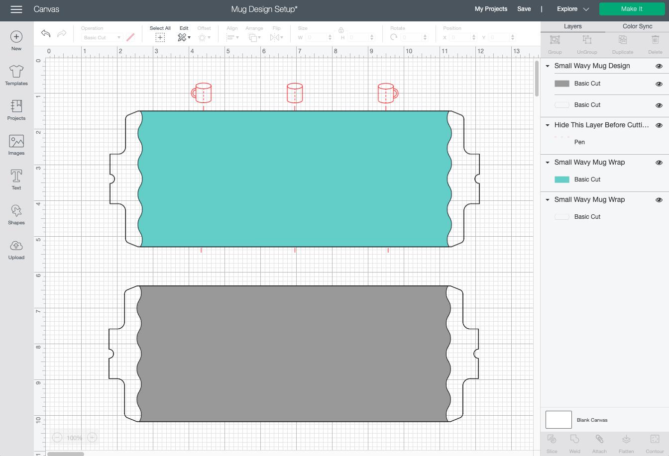 Cricut Design Space: Mug wrap template compared to mug wrap image from Cricut Image Library