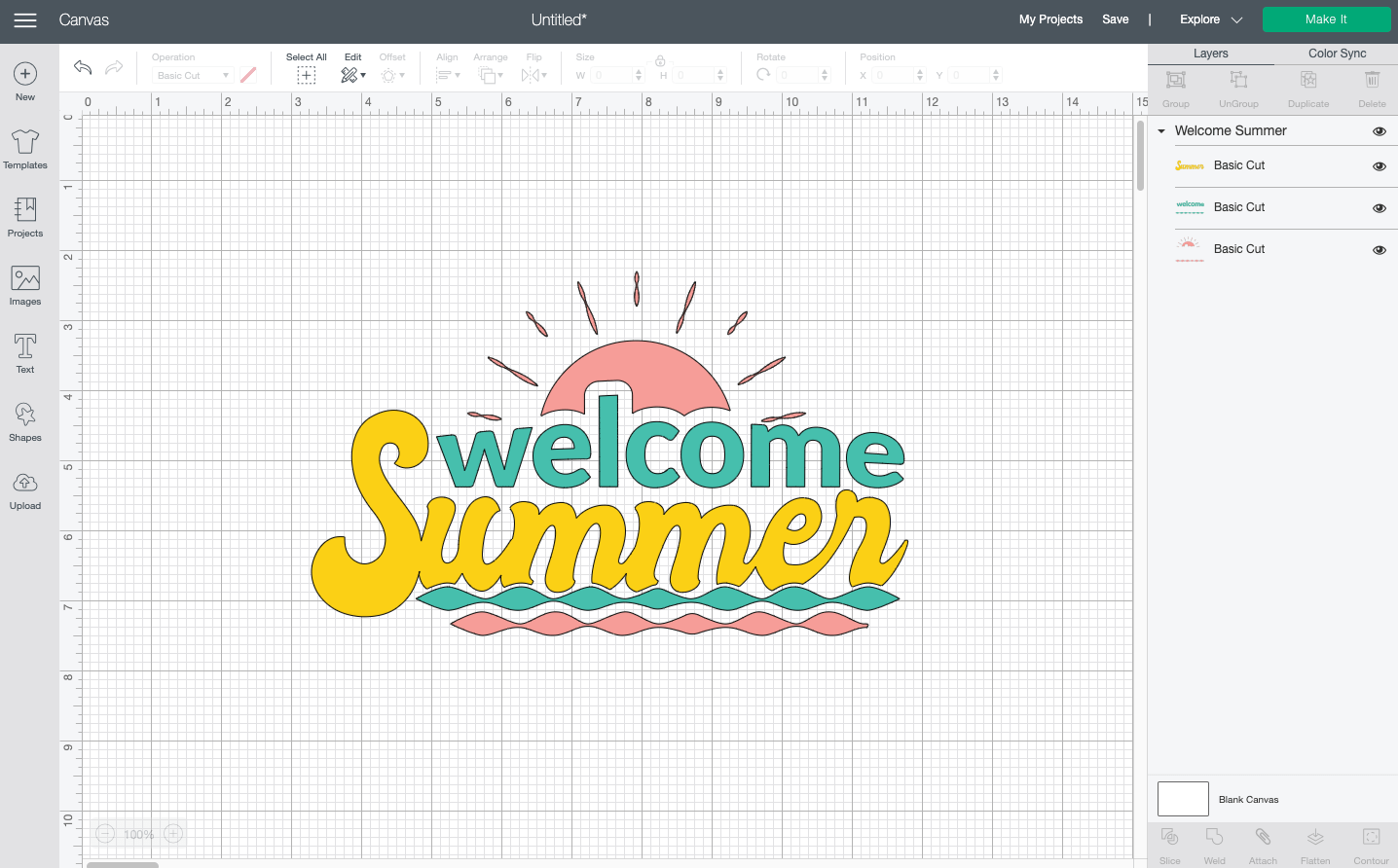Cricut Design Space: Welcome Summer image in Canvas