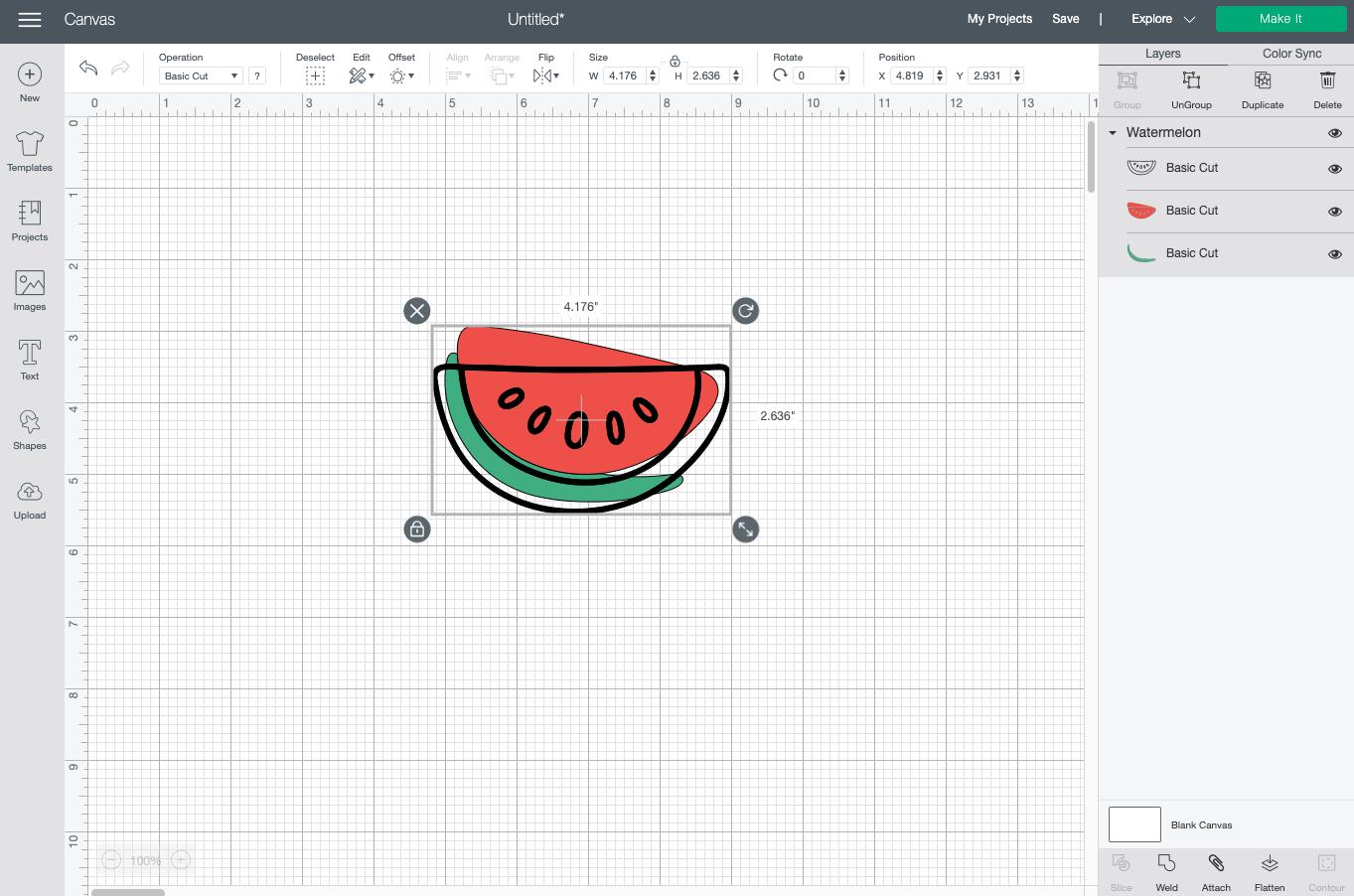 Cricut Design Space: watermelon image on canvas