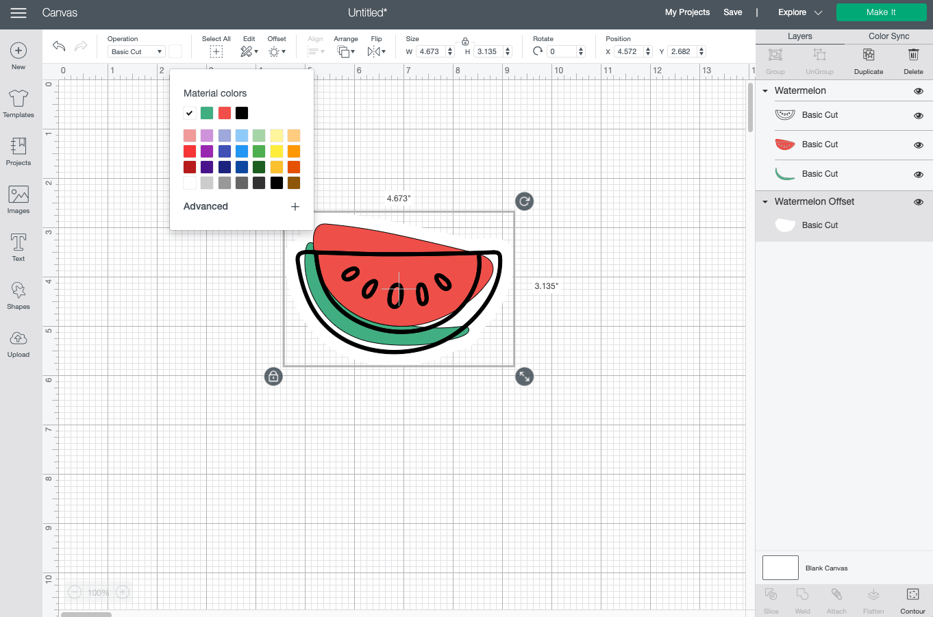Cricut Design Space: changing offset to white