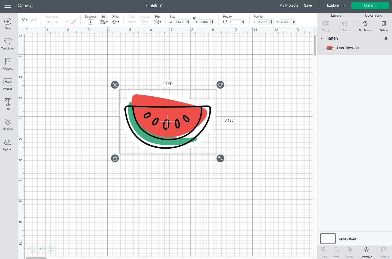 Cricut Design Space: flattening image into sticker