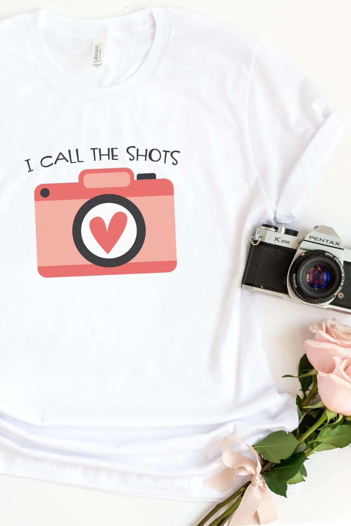 """""""I Call the Shots"""" image on t-shirt with camera"""