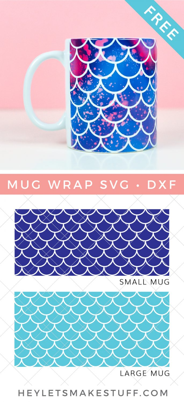 Free Mermaid Mug Wrap Design SVG pin image