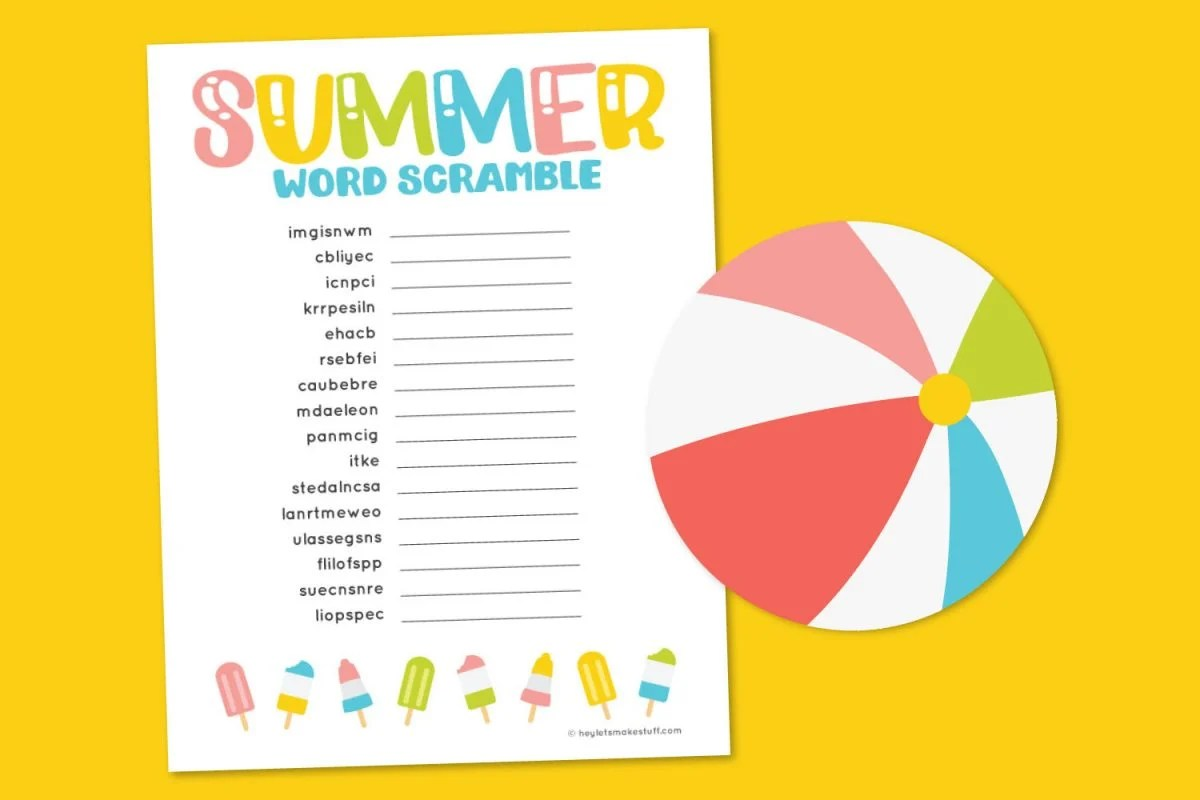 Summer word scramble on yellow background with beach ball