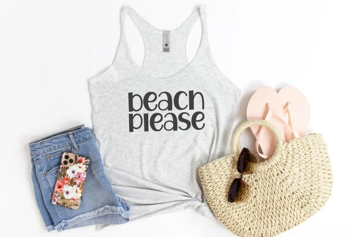 """Gray tank top with """"beach please"""" written in summer font"""