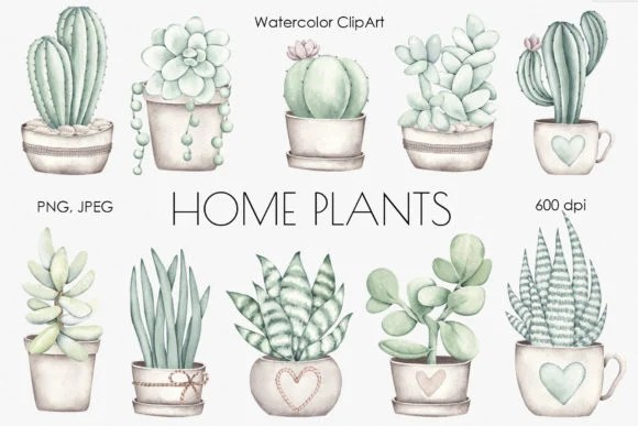 Home Plants Clip Art from Creative Fabrica