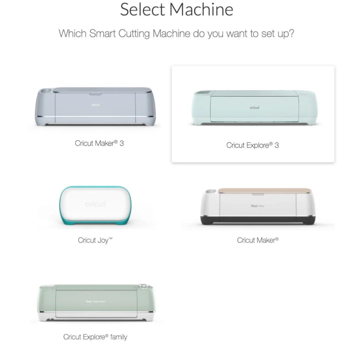 Screenshot showing Select Machine with Cricut Explore 3