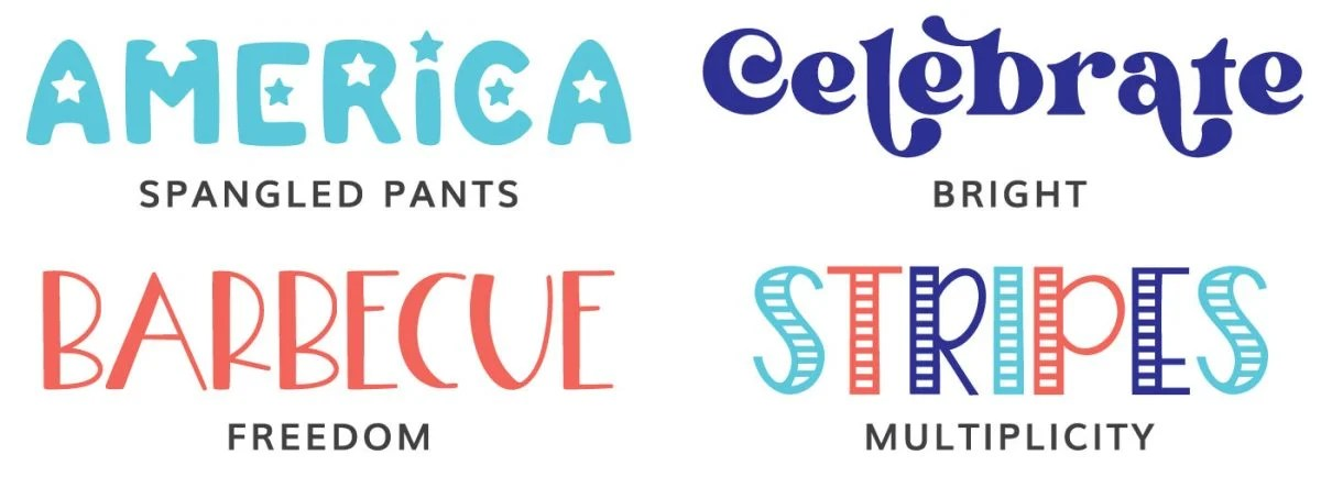 Fonts: Spangled Pants, Bright, Freedom, Multiplicity