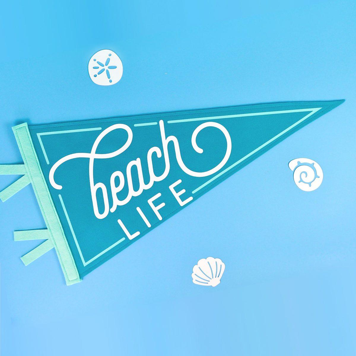 Beach Life Pennant on blue background