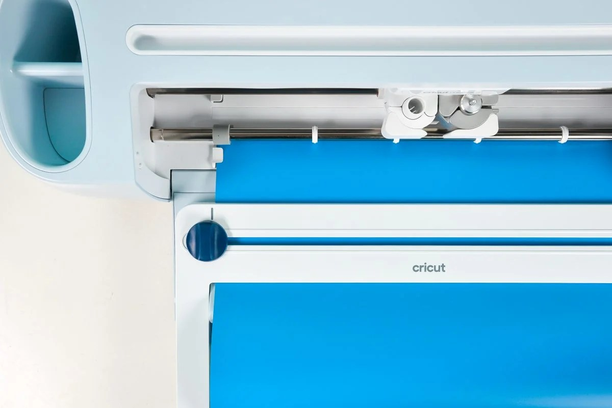 Cricut Maker 3 with Roll Holder attached -- shot from above