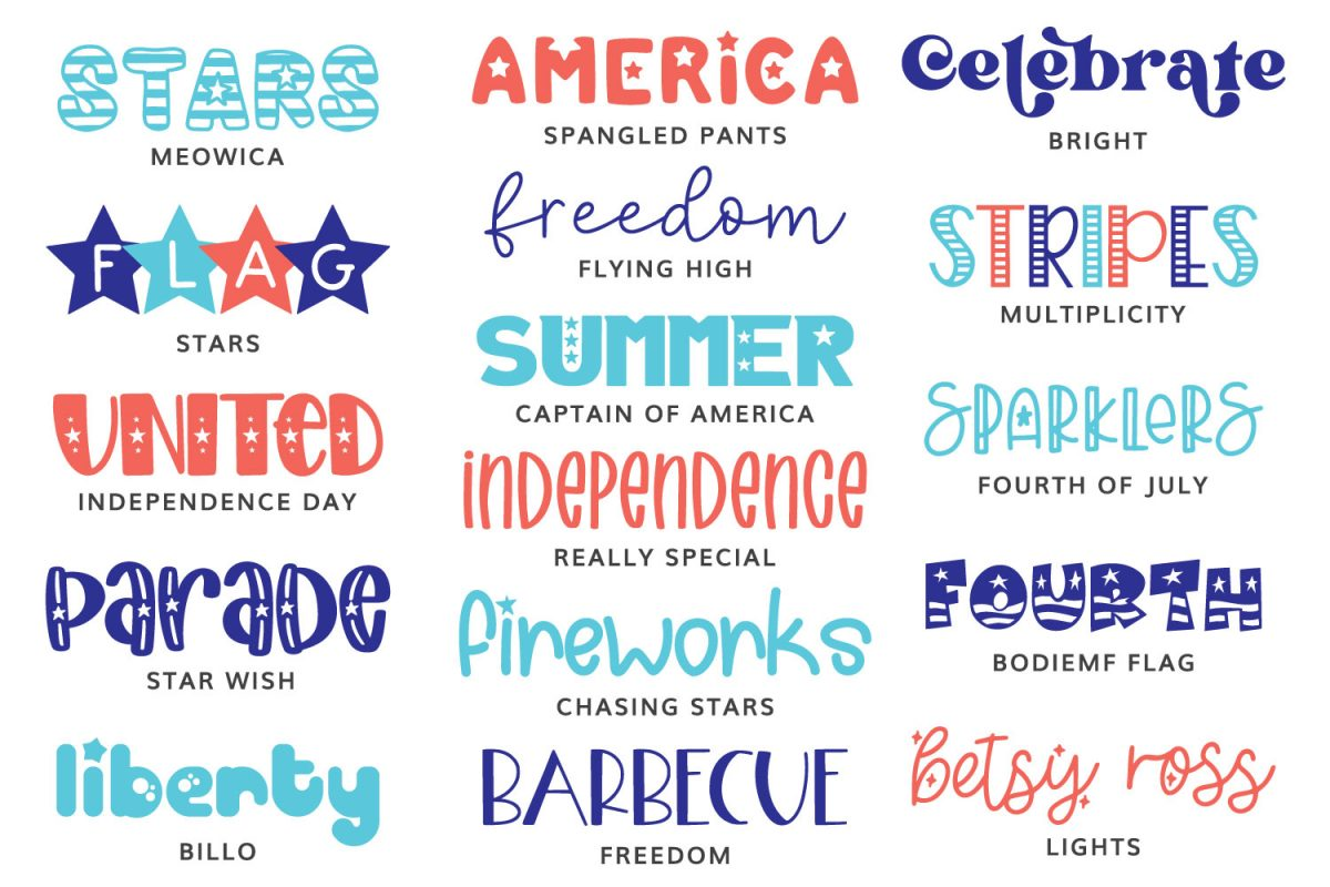 All of the 4th of July fonts featured in this post