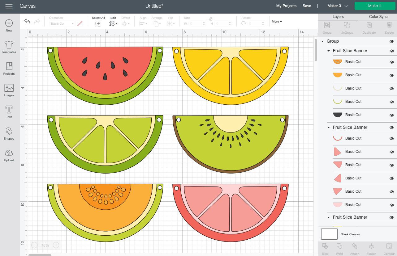 Cricut Design Space: Fruit banner on Canvas
