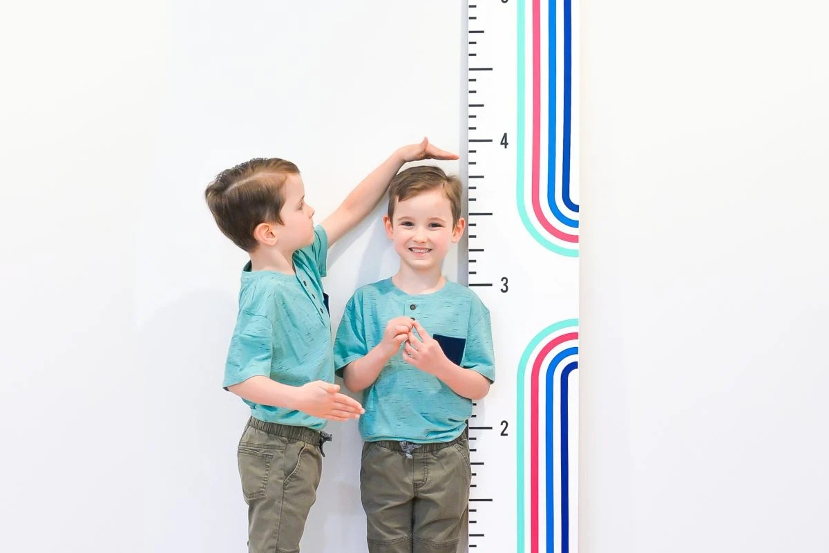 Twin boys standing with height ruler